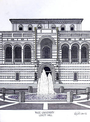 Drawing - Rice University by Frederic Kohli