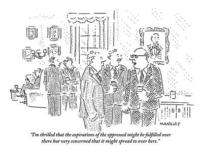 Poor People Drawing - Rich Men In A Glamorous Men's Club Discuss by Robert Mankoff