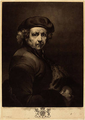 Self-portrait Drawing - Richard Earlom After Rembrandt Van Rijn British by Quint Lox