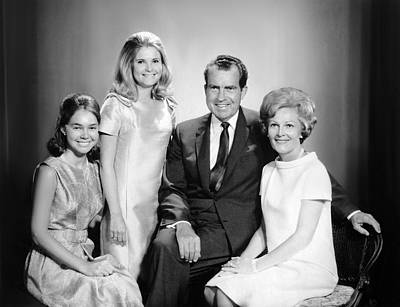 Richard Nixon And Family Art Print by Underwood Archives