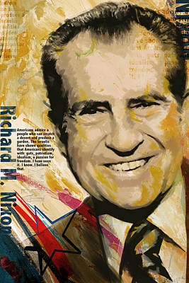 James Madison Painting - Richard Nixon by Corporate Art Task Force