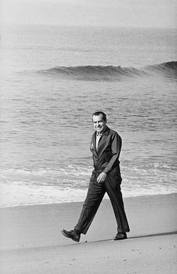 Richard Nixon Walking On The Beach Art Print by Everett
