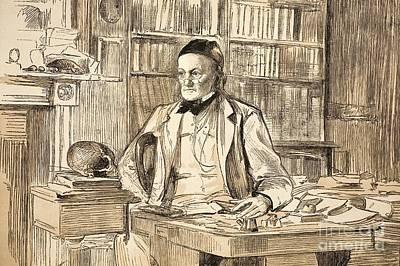 British Biologist Photograph - Richard Owen In His Study, 1883 by Paul D. Stewart