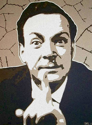 Atom Painting - Richard P Feynman by Dan Carman