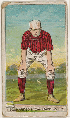 Baseball Cards Drawing - Richardson, 3rd Base, New York by Issued by D. Buchner & Co., New York