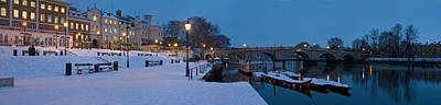 Richmond Bridge In Winter, Thames Art Print by Panoramic Images