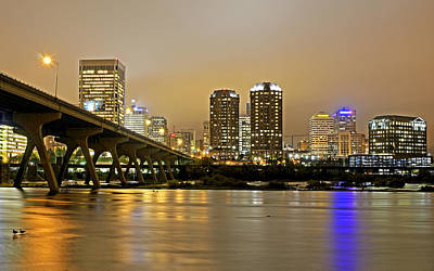 Sky Line Photograph - Richmond Virginia From The James River At Night by Brendan Reals