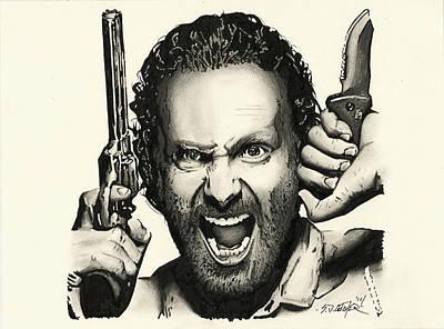 Grime Drawing - Rick Grimes by Scot Gotcher
