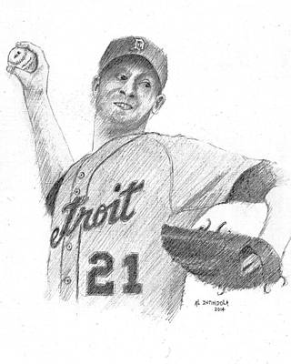 Drawing - Rick Porcello by Al Intindola