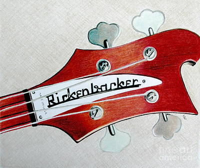 Music Drawings - Rickenbacker by Glenda Zuckerman