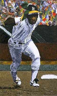 Baseball Painting - Rickey Henderson by Mike Rabe