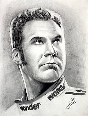 Will Ferrell Drawing - Ricky Bobby by Caleb Goodman