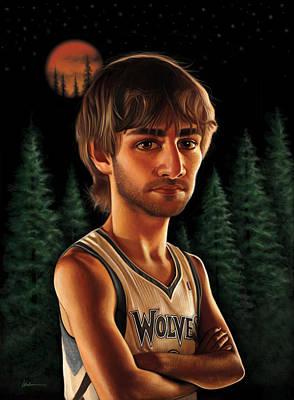 Kevin Garnett Drawing - Ricky Rubio by Derek Wehrwein