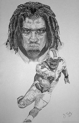 Miami Dolphins Drawing - Ricky Williams by Jonathan Tooley