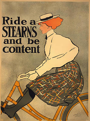 1890s Drawing - Ride A Stearns And Be Content by Mountain Dreams