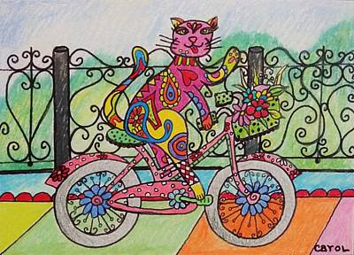 Drawing - Ride Kitty Ride by Carol Hamby