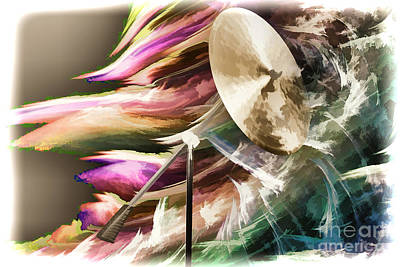 Drum Set Art Painting - Ride Or Suspended Cymbal Painting In Color 3240.02 by M K  Miller
