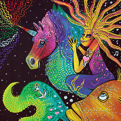 Sea Horse Painting - Ride The Rainbow by Laura Barbosa