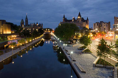 Licensing Photograph - Rideau Canal And Sussex Drive At Night by Rob Huntley