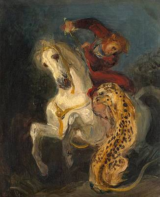 Galerie Painting - Rider Attacked By A Jaguar by Eugene Delacroix