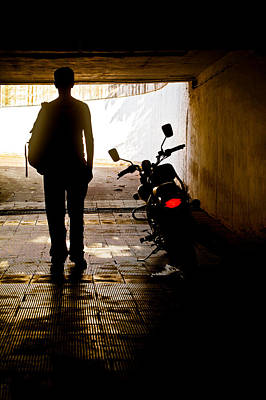 Photograph - Rider In The Dark by Kantilal Patel