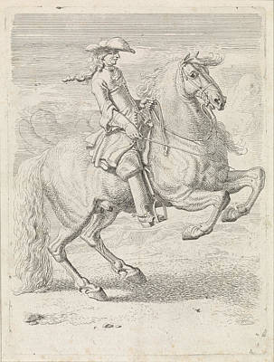 Dirk Drawing - Rider Lets His Horse Rearing, Dirk Maas by Dirk Maas