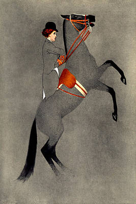 Gray Painting - Rider On Grey Horse English Saddle by Private Collection