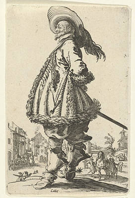 Equestrian Clothes Drawing - Rider With Plumed Hat, Anonymous by Anonymous