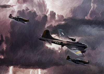 B-17 Wall Art - Digital Art - Riders On The Storm by Peter Chilelli