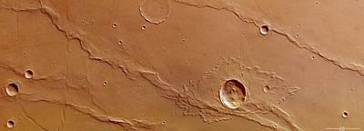 Ridges And Craters Art Print by European Space Agency/dlr/fu Berlin (g. Neukum)