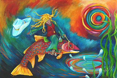Trout Painting - Ridin' A Rainbow by Debbie McCulley