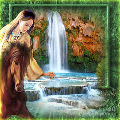 Indian Cherokee Digital Art - Riding By Havasu Falls  - Digital Art By Giada Rossi by Giada Rossi