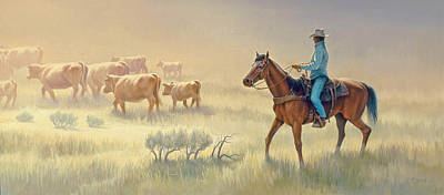 Cowboys Painting - Riding Drag by Paul Krapf