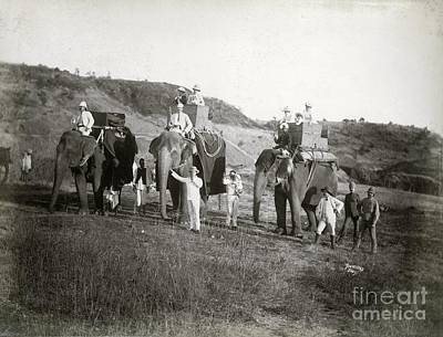 Raj Photograph - Riding Elephants In India, 1890s by British Library