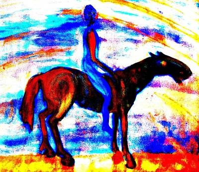 Amble Painting - I'm Riding Off In The Morning And I Will Never Return  by Hilde Widerberg