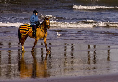 Riding On The Beach Art Print by Trevor Kersley