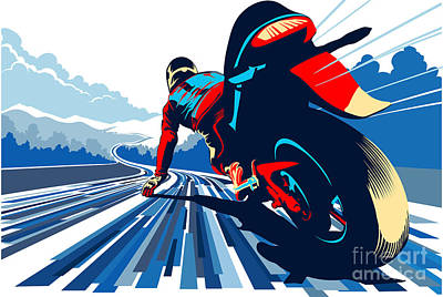 Motorcycle Wall Art - Painting - Riding On The Edge by Sassan Filsoof