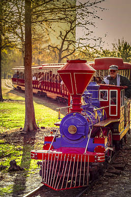 Photograph - Riding Out Of The Sunset On The Hermann Park Train by David Morefield