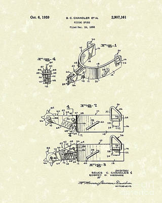 Metal Drawing - Riding Spurs 1959 Patent Art by Prior Art Design