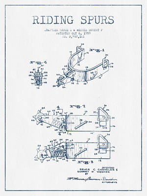 Riding Spurs Patent Drawing From 1959 - Blue Ink Art Print by Aged Pixel