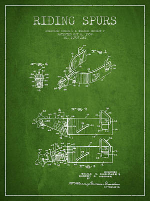 Cowboy Riding Horse Drawing - Riding Spurs Patent Drawing From 1959 - Green by Aged Pixel