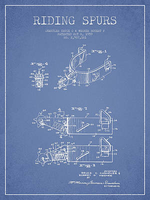 Riding Spurs Patent Drawing From 1959 - Light Blue Print by Aged Pixel