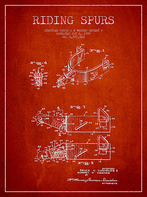 Mick Jagger - Riding Spurs Patent Drawing from 1959 - Red by Aged Pixel