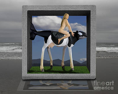 Surreal Digital Image Digital Art - Riding The Cow Whale by Keith Dillon