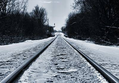 Train Tracks Photograph - Riding The Rails In Winter by Dan Sproul