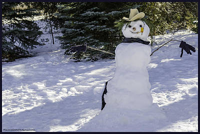 Photograph - Riding The Storm Out Winter Cowboy Snowman by LeeAnn McLaneGoetz McLaneGoetzStudioLLCcom