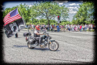 Riding To Support Our Troops Art Print by Tom Gari Gallery-Three-Photography