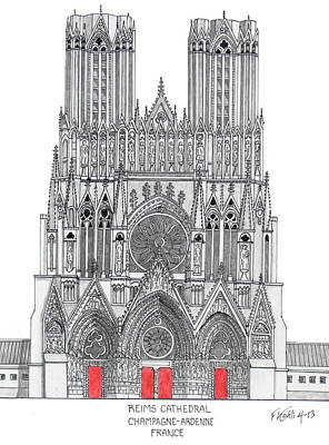 Drawing - Riems Cathedral by Frederic Kohli