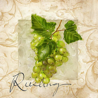 Chardonnay Wine Painting - Riesling by Lourry Legarde