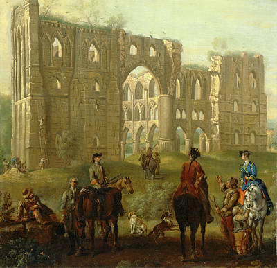 Pause Painting - Rievaulx Abbey Riders Pausing By The Ruins Of Rievaulx Abbey by Litz Collection